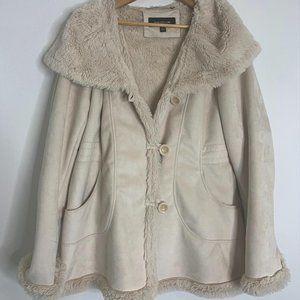 Jones New York ivory fur lined coat L